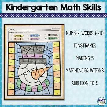 Winter Color by Number Math Worksheets
