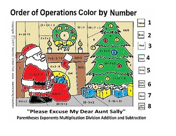 Christmas Math Color by Number - Order of Operations