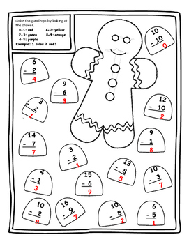 Christmas Color by Number Math Subtract Christmas Math Center 1st Christmas 1st