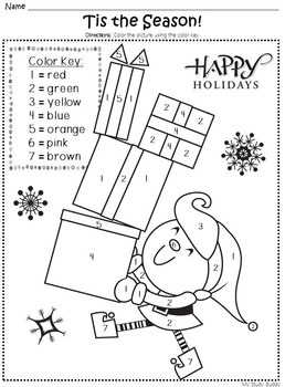 Christmas Color by Number: Numbers 1-20 (Kindergarten)