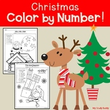 Christmas Color by Number: Numbers 1-20 (Kindergarten, Holiday Math)