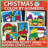 Christmas Color by Number Rounding Money and Adding Cents