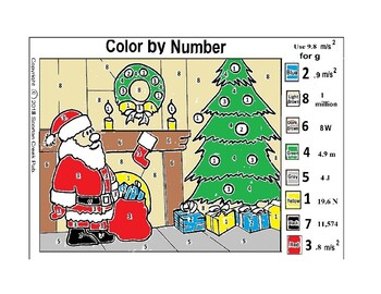 Christmas Color by Number Santa Physics Solve f=ma, w=mg, work and power