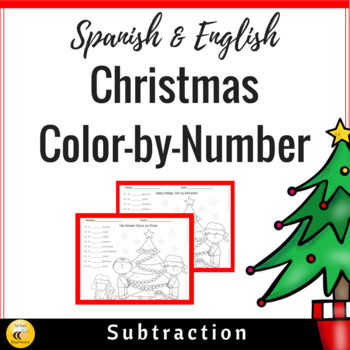 Christmas Color by Number: Subtraction (Spanish & English)