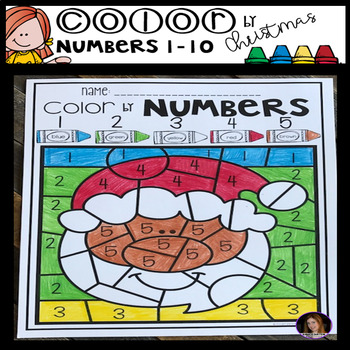 Christmas Color by Code Numbers 1-10 Activities
