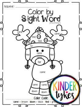 Christmas Color by Sight Word Bundle (Pre-primer & Primer)
