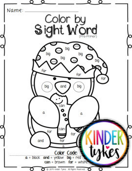 Christmas Color by Sight Word Bundle (Pre-primer & Primer)