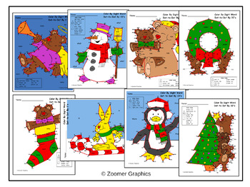 Christmas Color by Sight Word Dot to Dots by 10s