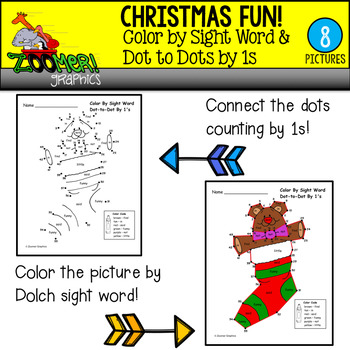 Christmas Color by Sight Word Dot to Dots by 1s