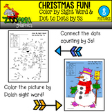 Christmas Color by Sight Word Dot to Dots by 5s