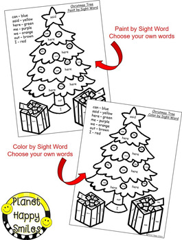 Christmas Activity ~ Christmas Color by Sight Word (EDITABLE)