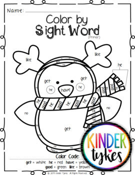 Christmas Color by Sight Word (Primer)