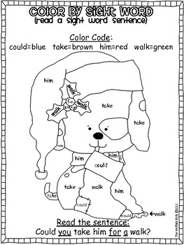 Christmas Color By Sight Word Sentences 1st Grade By The