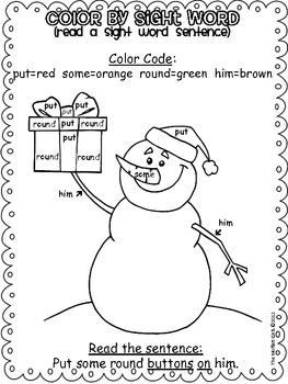 Christmas Color by Sight Word Sentences