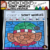 Christmas Color by Sight Words Pre-Primer Sight Word Activities