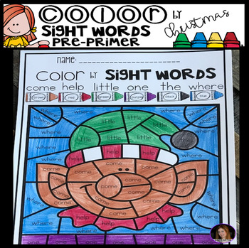 Christmas Color by Code Sight Words Pre-Primer Sight Word Activities