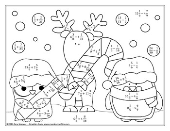 Christmas adding fraction coloring pages