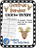 Christmas Color the Ten Frame - Reindeer