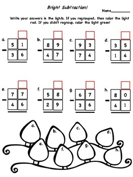 Christmas Coloring 2 Digit Subtraction with and without regrouping