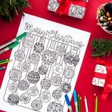Christmas Coloring Advent Calendar - Printable 8.5x11 PDF coloring page