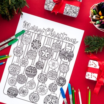 Christmas Coloring Advent Calendar - Printable 8.5x11 PDF coloring page