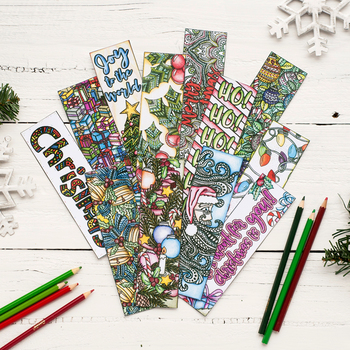 """Christmas Coloring Bookmarks - 12 x Printable bookmarks, 8.5x11"""" PDF template"""