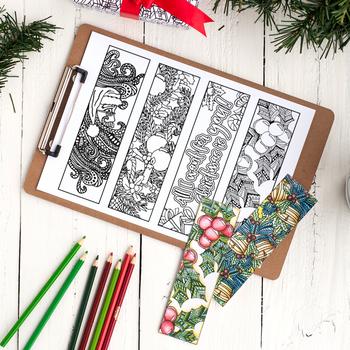 Christmas Coloring Bookmarks 12 X Printable Bookmarks 8 5x11 Pdf