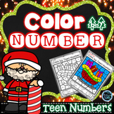 Christmas Coloring | Color by Teen Number Christmas | Teen