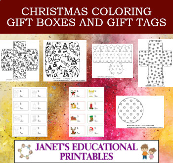 Christmas Coloring Gift Boxes and Gift Tags