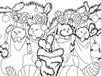Christmas Coloring Page ART CRAYONS CATS KITTENS