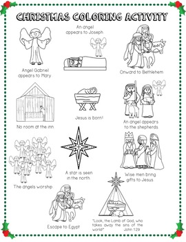 Christmas Coloring Page Activity, Chronological Events Teaching Tool