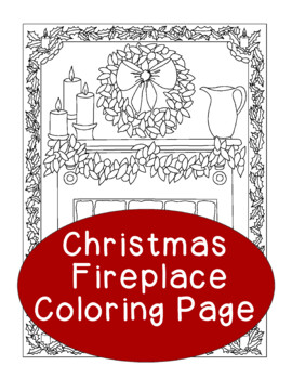 Christmas Coloring Page, Bulletin Board, Fireplace Holiday, Mantle Wreath