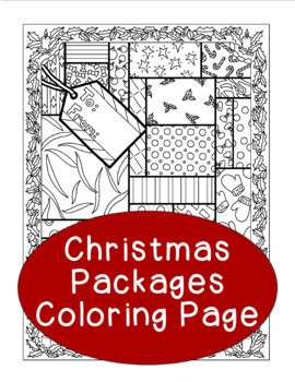 Christmas Coloring Page, Bulletin Board, Packages Holiday,
