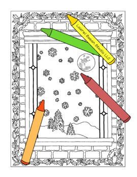 Christmas Coloring Page, Bulletin Board, Window Holiday, Snow Winter