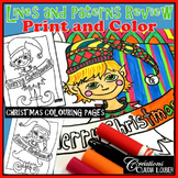 Christmas Coloring Page: Review patterns, lines and alternation.