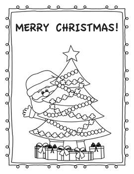 Christmas Coloring Page- Santa Hides Behind The Christmas Tree