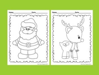 Christmas Coloring Pages - 8 Different Designs- Black and White