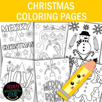 Christmas Coloring Pages- Christmas  Coloring Sheets- Set of 8 Pages