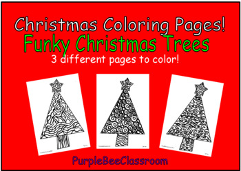 Christmas Coloring Pages Set of 3 Christmas Trees