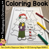 Christmas Coloring Pages and Thanksgiving Coloring Pages Bundle