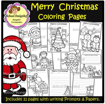 Christmas Coloring Pages and Writing Prompts / Paper (School Designhcf)