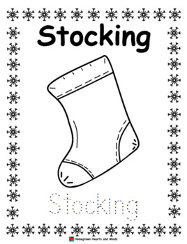Christmas Coloring Pages with Word Tracers