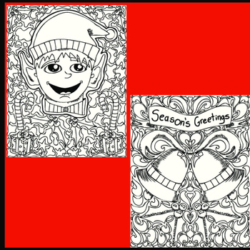 Christmas Coloring Pages, Zen Doodle Holiday Activity. Set 2.