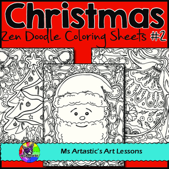 christmas coloring pages zen doodle holiday activity set 2