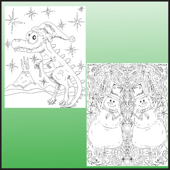 Christmas Coloring Pages. Zen Doodle Holiday Activity.