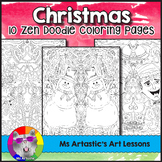 Christmas Coloring Pages, Zen Doodle Holiday Activity