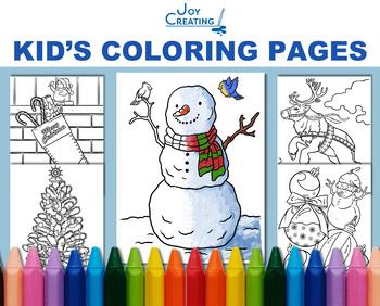 Christmas Coloring Sheets Kids Digital Realistic, JPG, Printable, Holiday
