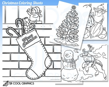 christmas coloring sheets kids digital realistic jpg printable holiday
