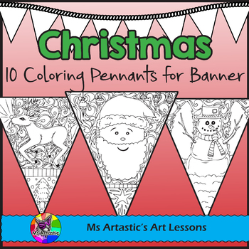 Christmas Coloring Pages Pennant Banner by Ms Artastic | TpT