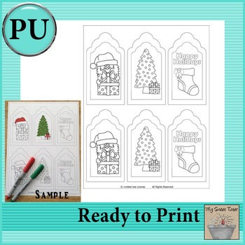 Christmas Coloring Tags Set 1